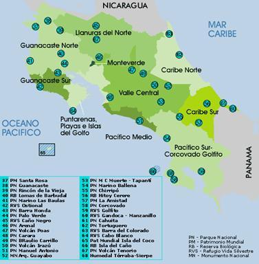 Resultado de imagen para areas protegidas en costa rica